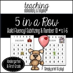 Subitizing skills are important for young children to learn how to automatically recognize numbers. Fun games and activities support learning these skills. 5 in a row number games are fun for all kindergarten students. I love how this set, in particular, has many different themes.