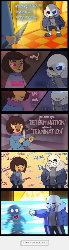 Undertale, Sans and Chara, Determination - created via https://pinthemall.net
