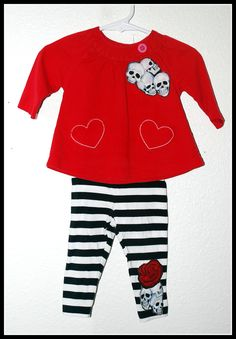 Girls Rockabilly 2 piece set in Red & White and Skulls n Bones, Red top  and Skinnies.... Size 3-6 months by DollfaceBettys on Etsy