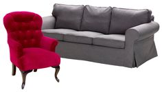 Ricorda i modelli dell'800 la bergère di Novità Home con gambe in legno color noce rivestita in cotone rosso cardinale. Linee classiche e rivestimento in un colore di tendenza, il grigio ferro per Söderhamn di Ikea