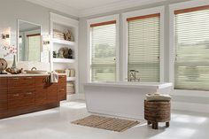 """Sorenta Fabric Blinds with Cord Lift/Cord Tilt: Harmony, Mineral 0810 with 3"""" Wood Classic Valance: Honey Maple 1013 and NoHoles."""