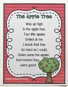 Ten Little Apples Poetry is a fantastic learning tool in preschool and kindergarten! Come learn how to use it in your classroom with this adorable counting poem that will fit right into your apple theme! Preschool Poems, Kindergarten Poems, Preschool Apple Theme, Kids Poems, Preschool Music, Preschool Lessons, Preschool Classroom, Preschool Learning, Preschool Apples