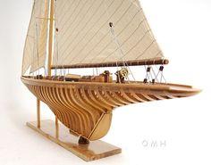 "Shamrock V Exposed ребрышки Open Hull Wood Model 38 ""Кубок Америки яхты Яхты | eBay"