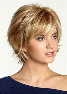 Women Capless Synthetic Hair Wavy 12 Inches Wigs W+ Short Hair With Layers, Short Hair Cuts, Pixie Cuts, Short Hair Styles Thin, Short Hair With Bangs For Round Faces, Short Layered Haircuts, Layered Hairstyles, Short Hairstyles For Women, Wig Hairstyles