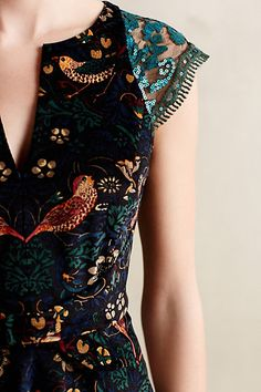 Larksong Corduroy Dress - anthropologie.com Pretty embroidery