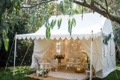 Glamping Canvas Tent by Raj Tent Club Backyard Camping, Camping Glamping, Tent Living, Outdoor Living, Outdoor Office, Outdoor Decor, Outdoor Tent Party, Outdoor Reisen, Outdoor Movie Nights
