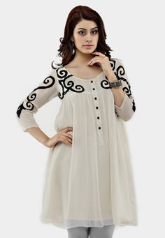 Off White Faux Georgette Readymade Tunic Roll