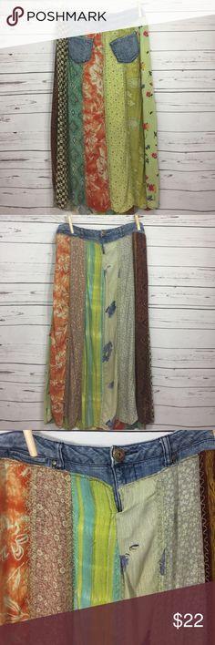 "Floral long bohemian skirt with Denim hippie Gorgeous multicolor, multi print, flowing long skirt with denim trim. 36"" waist 38"" long ruff hewn Skirts Maxi"