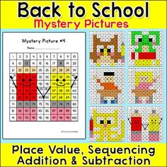 Hundreds Chart Hidden Pictures - Differentiated Math Activities - School Theme Back To School Activities, Math Activities, All About Me Poster, Sight Word Coloring, Number Puzzles, Hundreds Chart, Hidden Pictures, Early Finishers, School Themes