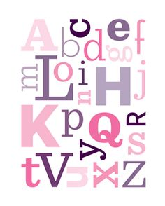 Decorative FREE Printable Wall art - pink alphabet and purple alphabet in 8x10 or 11x14 framable prints!!