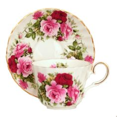 """""""Summertime Rose"""" oz English Bone China cup and saucer, imported from England by Berta Hedstrom Imports. Pink and red roses with gold trim on both cup and saucer. Price shown is for one cup and saucer. Tea Cup Set, My Cup Of Tea, Cup And Saucer Set, Tea Cup Saucer, Tea Sets, China Cups And Saucers, Teapots And Cups, Teacups, Vintage Cups"""