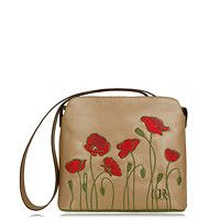 Mia Beige Poppy real leather handbag with by RodriguezHandbags Embroidered Flowers, Floral Motif, Real Leather, Drawstring Backpack, Poppies, Projects To Try, Crossbody Bag, Spring Summer, Beige