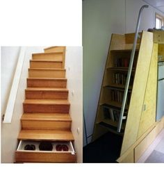 stairways, what a great idea!! Extra storage!!  Until someone leaves one open on your way down...... hmmmm.