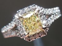 Diamond Ring: .55ct Radiant Cut Fancy Yellow VS2 GIA Halo Ring R3805