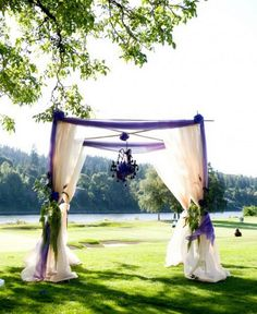 Purple Chuppah With Hanging Chandlier. - without the chandelier though...and with an actual Tallis