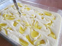 Lemon Dream Cake--French Vanilla Cake mix, lemon pie filling, Cool Whip, lemon frosting.