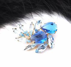 Unique Czech Rhinestone Pin, Sapphire Blue / Crystal