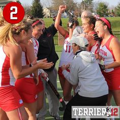The No. 2 spot is this year's #Terrier12 belongs to @bostonu_fieldhockey! Here's a postgame celebration photo from November after the Terriers defeated Bucknell for their first Patriot League title!