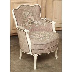Antique Furniture | Antique Louis XV Painted Needlepoint Bergere | www.inessa.com