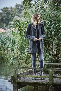 Where biker jacket meets Pea Coat with zips!  Big pockets - makes it the perfect coat.  Meet Carwyn - Wool and Cashmere blend coat.