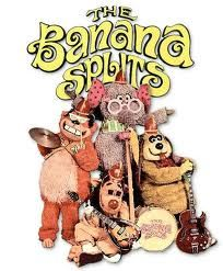 "The Banana Splits  ""Four banana, three banana, two bananas, one  All bananas playing in the bright warm sun,  Flipping like a pancake, popping like a cork,  Fleagle, Bingo, Drooper and, Snork"