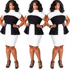 Summer Casual Elegant Office Dress Plus Size L XL XXL XXXL Black&White Patchwork Elasticity Midi Dress Best For Women Work Dress