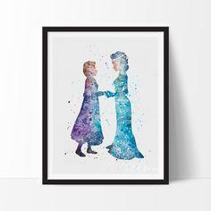 Princess Elsa and Anna Frozen Watercolor Art - VIVIDEDITIONS