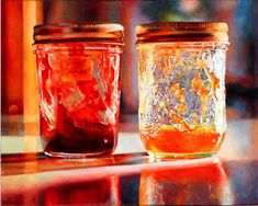 My new favourite painter: Mary Pratt. If you ever have a chance to see her work, I really suggest going, because her paintings actually glow like gems. Or in this case, jam jars in sunlight.