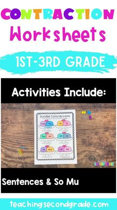 Use this 35 page resource with your 1st, 2nd, or 3rd grade classroom or home school students. These contraction worksheets are no prep, so your students can get lots of practice with these printables! You get activities for matching, cut and paste, games, puzzles, sentences, ABC order, interactive notebook pages, and more! These are great for centers or stations, early or fast finishers, review, morning work, seatwork, and more. #secondgrademath #mathactivities #teacherresources Contraction Worksheet, 3rd Grade Activities, Classroom Pictures, Fast Finishers, Daily Math, 3rd Grade Classroom, Second Grade Math, Morning Work, School Lessons