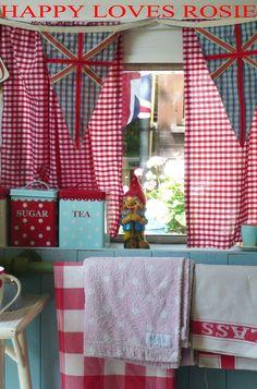 Gingham, vintage style inside your little trailer