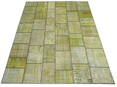 Yellow Gold PATCHWORK RUG, HANDMADE from recycled Overdyed old Turkish Carpets