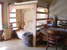 The other benefit is the cool loft bed is also able to be a decoration inside your bed room.Therefore, you have to decorate your cool bed loft as great as possible to make your bed room looks more wonderful. Pallet Loft Bed, Build A Loft Bed, Loft Bed Plans, Cool Loft Beds, Modern Bunk Beds, Dorm Room Organization, Wood Beds, Murphy Bed, My New Room