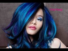 Guy Tang blue ombre or balayage Hair Color Cream, Ombre Hair Color, Hair Color Balayage, Purple Hair, Purple Ombre, Hair Colors, Orange Ombre, Neon Hair, Violet Hair