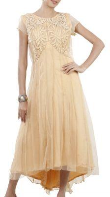 Cream Cutwork Net Dress | Strandofsilk.com