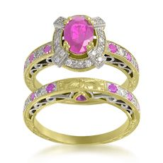 Rainbowsapphire.Com – The Original Rainbow Sapphire Jewelry,  Hand-engraved, 14KT gold ring set with 15 custom-cut pink sapphires weighing approximately 0.47 carat and 28 pave-set round diamonds weighing 0.31 carat.