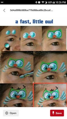 When you think about face painting designs, you probably think about simple kids face painting designs. Many people do not realize that face painting designs go beyond the basic and simple shapes that we see on small children. Face Painting Tips, Girl Face Painting, Face Painting Tutorials, Face Painting Designs, Painting For Kids, Paint Designs, Body Painting, Owl Face Paint, Face Paint Makeup