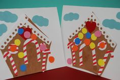 Gingerbread House Cards - love how a few simple shapes a Gingerbread House does make. Explore shapes and colour with Preschoolers and make these adorable keep sake gingerbread house cards this Christmas!