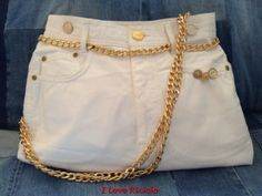 borsa jeans bianca con catena