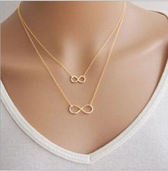 Gold Silver Chain Fine Jewelry  Double Infinity Necklace //Price: $10.99 & FREE Shipping //     #hashtag1