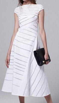 Striped Trendy Slashed Neck Maxi Dress/fashionmia.com