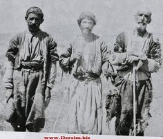Three shepherds from the Dersim region, in everyday outfit, anno 1937.  Ethnic group: Alevi Kurd (Zaza).  The Dersim region contains the actual Tunceli province, and some neighbouring districts of the Elazığ and Bingöl provinces.