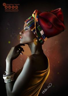 The headwrap originated in sub-Saharan Africa and serves similar functions for both African and African American women. In style, the African American woman's headwrap exhibits the features of sub-Saharan aesthetics and worldview Black Girl Art, Black Women Art, Beautiful Black Women, Art Girl, African Beauty, African Women, Afrique Art, African Art Paintings, Black Art Pictures