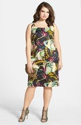 Gabby Skye Butterfly Print Sleeveless Scuba Sheath Dress (Plus Size)