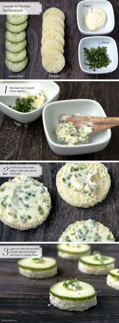 Tea Sandwich - Cucumber & Chive Butter... I'd use cream cheese instead of…