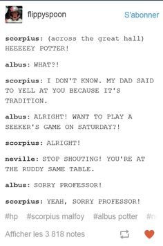 Yup, can definitely see this occurring more than once with those two and also with Kylo sneaking up on Albus like Snape used to do to Harry and still does to all of his students. Harry Potter Texts, Harry Potter Imagines, Harry Potter Ships, Harry Potter Theme, Harry Potter Universal, Harry Potter Fandom, Harry Potter World, Hogwarts, Harry Potter Cursed Child