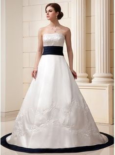 A-Line/Princess Strapless Chapel Train Embroidered Sash Beading Zipper Up Strapless Sleeveless Church General Plus No Winter Ivory Satin Wedding Dress