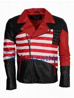 American Flag Design men Leather Jacket2