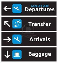 Arrival, departures, transfer and baggage airport signs Stock Photo - 15770391                                                                                                                                                     More