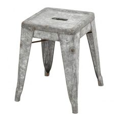 Patina Galvanized Metal Stool