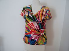 CHICO'S   Multi Color Abstract Floral Cotton Knit SS T-SHIRT 1/Small